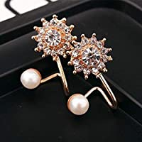 Women's Studs Rhinestones Inlay Imitation Pearl Decor Sweet Exquisite Earrings Accessory