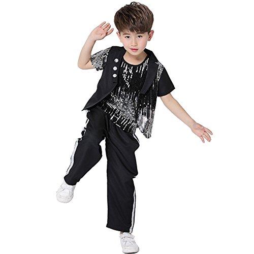 Street Kostüm Tanz - Jungen Schwarze Pailletten Jazz Dance Outfits Hip Hop Dance Wear Glitter 3-teiliges Kostüm
