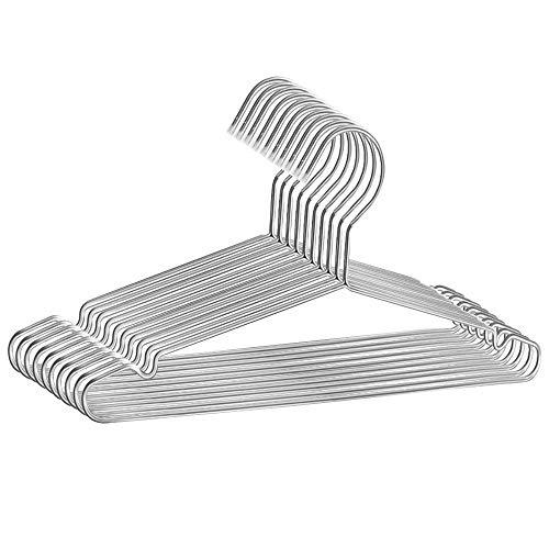Triwin 42CM Jackenbügel Robust Metall Kleiderbuegel für Schwere Kleidung Jacken, Mäntel, Blusen, Hemden und Spaghettiträger, 4mm Dicke Platzsparend 10 Stück