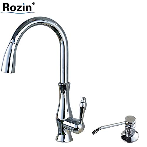 CZOOR Bright Chrome Pull Out Küchenarmatur Deck montiert Single Hole Kitchen Sink Mischbatterien mit 220 ml Seifenspender - Hole Single Delta Küchenarmatur