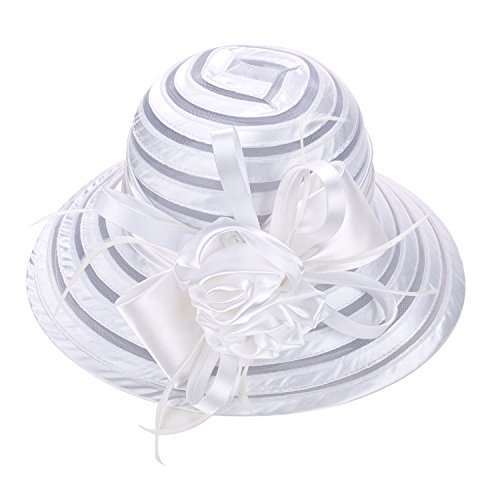 Lawliet A214 Damen Sonnenhut, Satin, einfarbig, für Kirche, Hochzeit, Kentucky Derby - Weiß - (Weiße Satin Derby Hat)