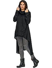 Zarlena Damen asymmetrischer Oversized Look Longshirt Hoodie Minikleid