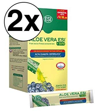 2 Confezioni Esi Aloe Vera 24 Pocket Drink con Mirtillo
