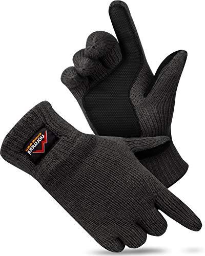 normani Strick Fingerhandschuhe mit Thinsulatefütterung Winterhandschuhe Farbe Anthrazit mit Silikonhandfläche Größe XL
