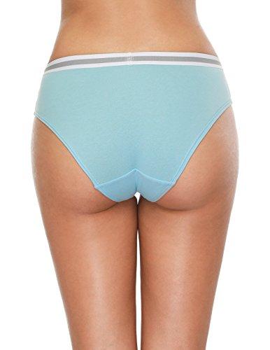Attraco Damen Slips Baumwolle Bikinislips Streifen Details 4 Pack Hipsters 6056