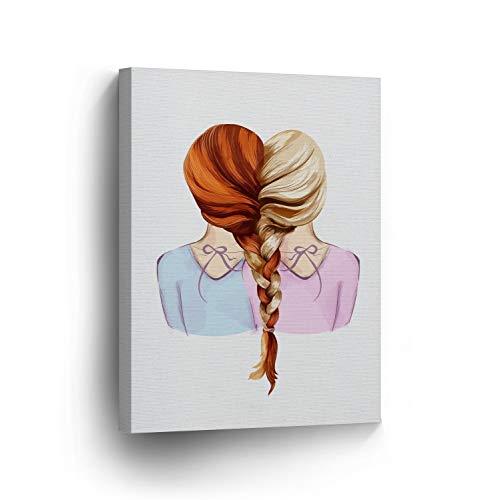 cwb2jcwb2jcwb2j Canvas Print Lovely Redhead and Blonde Girl Braid Kids Room Decor Wall Art Baby Girl Baby Gift Nursery Decor Redhead Wrap