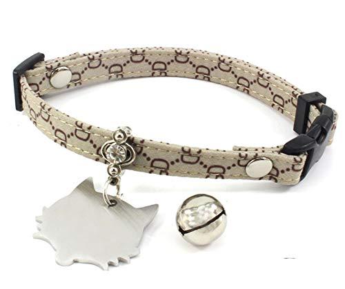 AmDxD Stoff Katze Halsband Brief Tag Glocke Katzenhalsband Hunde Halsbänder Elegant Design - Khaki XS (Brief-tags)