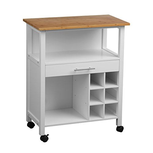 Housewares Traditional Style White Kitchen Trolley with Bamboo Top, 1 Drawer, 2 Large Shelves Made of Durable Wood - Will keep Your Kitchen Organised and Tidy