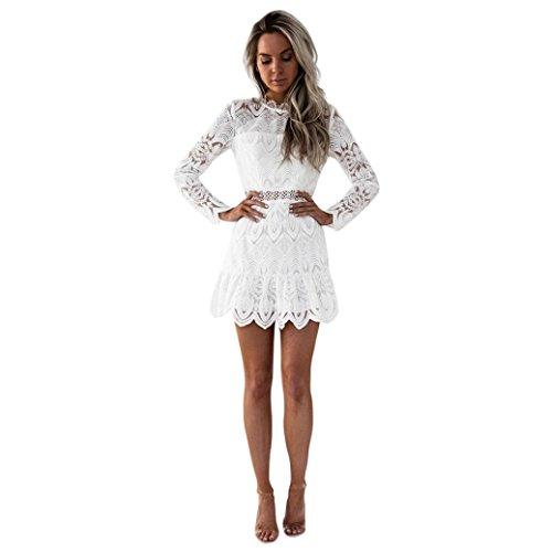 Btruely Kleid Damen Kurz Elegant Partykleid Slim Fit Cocktailkleid Langarm Abenkleid Vintage O-Ausschnitt Minikleid Spitzenrock A-Linie Kleid (M, Weiß)