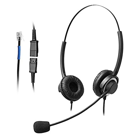 Wantek Binaural Call Center Telephone Headset Headphone with Mic and Quick Disconnect for Cisco Unified IP Phones 7931G 7940G 7941G 7942G and Plantronics M10 MX10 Vista Modular
