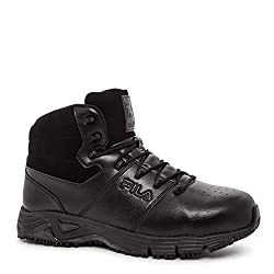 Fila Mens Memory Breach Work Slip Resistant Steel Toe Walking Shoe Black- Black- Black 14 D(M) US
