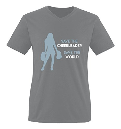 Comedy Shirts - Save the cheerleader save the world - Heros - Herren V-Neck T-Shirt - Dunkelgrau / Eisblau-Weiss Gr. (Outfit Barbie Cheerleader)