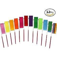 JUSLIN 12pcs embroma las cintas de gimnasia de las cintas de la danza rítmica de los niños que bailan las flámulas que bailan, bastón giratorio, para los cabritos que bailan artístico