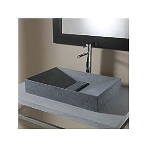 Vasque à poser rectangulaire type pyramide en pierre de qualité