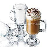 YUANHAO Tazza di Vetro Irlandese Tazza di caffè Alto Latte con Tazza di tè Tazza di Dessert Tazza di Bevanda Fredda 201-300ml 240ML