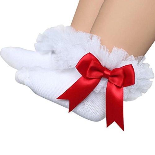 Socken Longra Baby Kinder Mädchen Prinzessin Bowknot Socke Spitze Rüsche Frilly Trim Knöchelsocken(0 -6Jahre) (12.5cm/2-4Jahre, White) (Trim White 3)