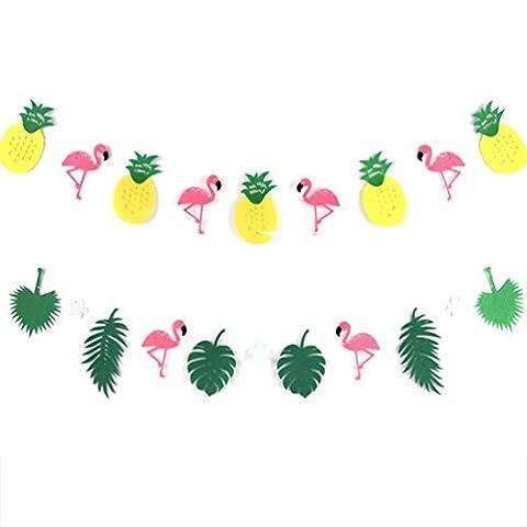 Summer Party Flamingo Ananas Feuille Guirlande Papier Chambre Summer Party Decoration (Les Deux)