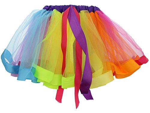 Girls Layered Rainbow Tutu Dance Skirt Rave Party Ballet Dance Ruffle Tiered Tutu Skirt Clubwear