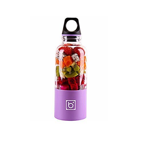 pawaca USB Fruit Juicer Cup Personal, tamaño Fruta mischmaschine, portátiles recargables Zumo Licuadora eléctrica para Home Viajar al aire libre trabajar-(500ml, multicolor) morado