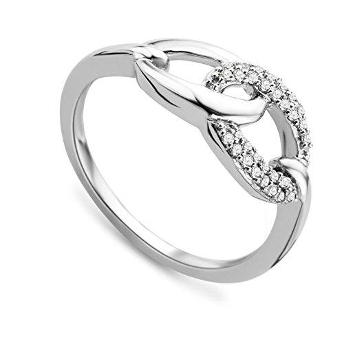 Miore MF8018RR - Anillo de mujer de oro blanco (18k) con 30 diamantes (talla: 18)