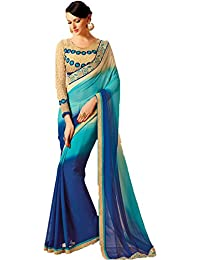 Ambika Sarees Collection Embroidered Multi Half And Half Georgette Saree With Blouse Material