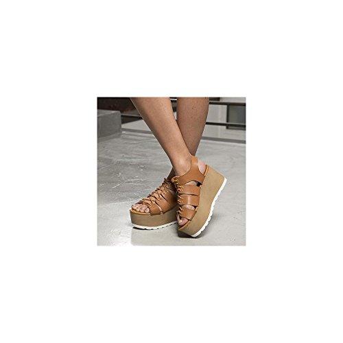 Ideal Shoes Sandales à Plateforme Style Spartiate Medea Camel
