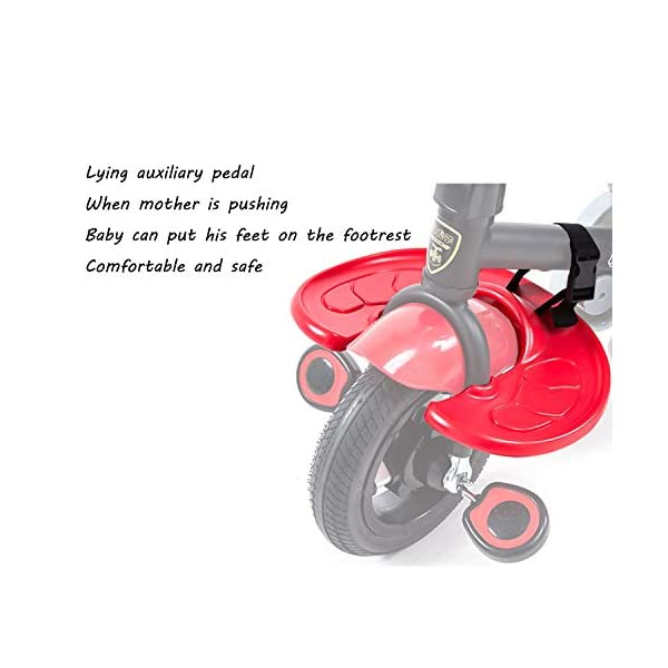4 In 1 Childrens Tricycles 10 Months To 5 Years Easy To Assemble 3-Point Safety Belt Kids Tricycle Folding Sun Canopy Adjustable Handle Bar Blockable Rear Wheels Child Trike Maximum Weight 25 Kg,Red BGHKFF ★Material: steel + ABS plastic, suitable for children from 10 months to 5 years old, the maximum weight is 25 kg ★ 4 in 1 multi-function: can be converted into a stroller and a tricycle. Remove the hand putter and awning as a tricycle. ★Scientific design features: front footrest, rear storage basket, no need to inflate titanium empty wheel 8