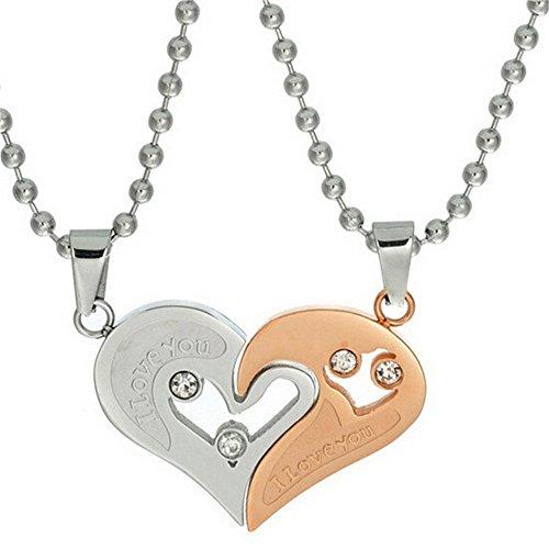 aar Halskette Edelstahl Herz Anhänger Puzzle Passende Halsketten Set Ich Liebe Dich Geschenke (Rose Gold) SN102 ()