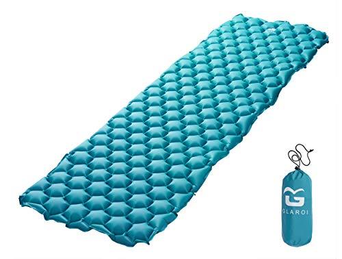 Glaroi Isomatte Ultraleicht aufblasbar, kleines Packmaß, Luftmatratze geeignet für Camping Trekking Outdoorer Wandern und Reisen -Türkisblau, Türkis, Blau