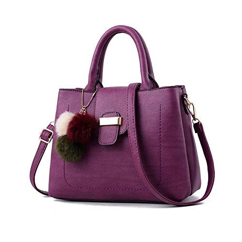Toopot Sacchetti di spalla delle donne di cuoio dell'unità di elaborazione sacchetto della borsa della borsa di Tote Viola