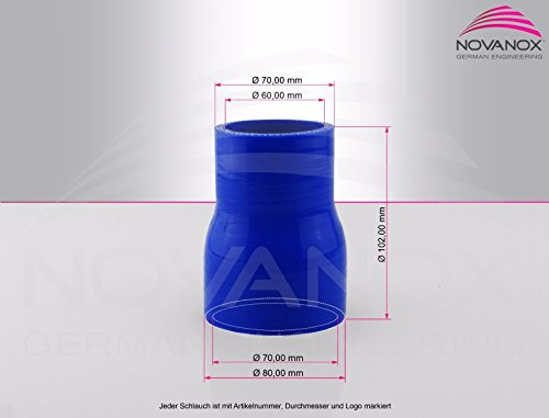Silicone Droites reducteur Durite Ø 22-34 a 76-102 mm Tuyau Flexible Tube Turbo, Farbe:Blau, ID x ID:Ø 60-70 mm