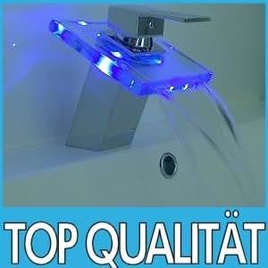 Robinet à design cascade avec LED mitigeur mélangeur verre salle de bain