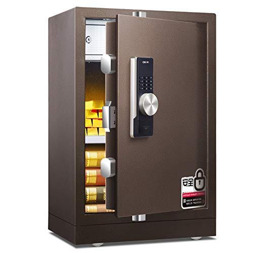 Caja Fuerte de Seguridad,22L Cerradura de Teclado Electrónica Sólida de Caja de Seguridad, Oficina de Hotel Joyas Comerciales Uso de Efectivo Almacenamiento,43x38x70cm,Marrón