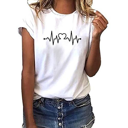 LIGESAY Damen Weiß T-Shirt EKG Elektrokardiogramm Herzschlag Herz Frequenz Mädchen Kurzarm Baumwolle Rundhals Bluse Tops Große Größen - Weißer Text Ärmelloses T-shirt