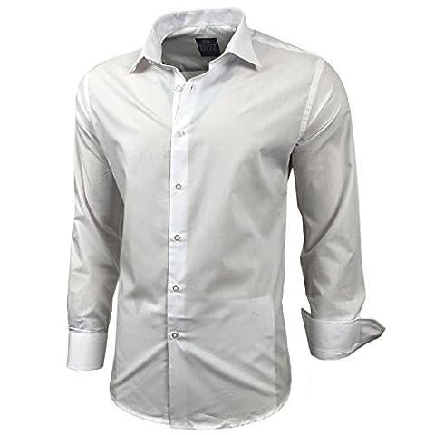 Kontrast Business Anzug Freizeit Polo Slim Fit Figurbetont Hemd Langarmhemd R-44, Farbe:Weiß;Größe:2XL
