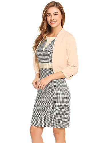 Damenjacke Elegant Mode Kurz Kragenlos kurzblazer Kurzjacke Bolero Jacke mit 3/4 Ärmel