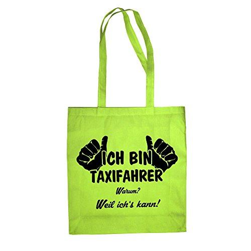 Ich bin Taxifahrer - Baumwolltasche Jutebeutel apfelgrün-schwarz
