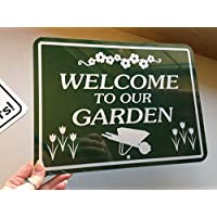 43LenaJon Welcome to our garden Outdoor Sign 8 x 12 inch Aluminum metal sign