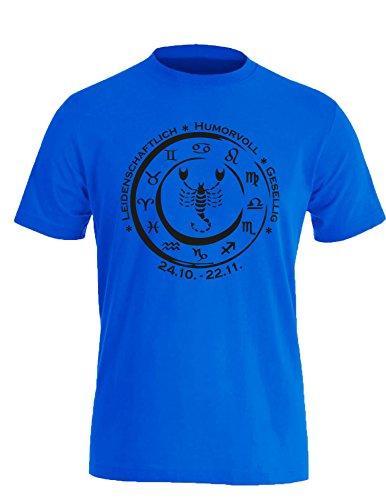 Sternzeichen Skorpion - Astrologie - Herren Rundhals T-Shirt Royal/Schwarz