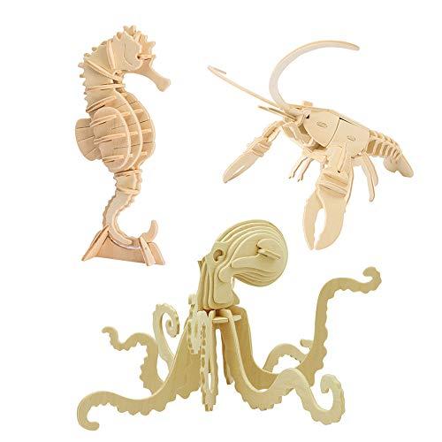 3D Holz Puzzle Meer Tier Modell Sammlung Octopus sea Horse Hummer holzhandwerk Baukasten Kinder Geschenk pädagogisches Spielzeug DIY Geschenk Puzzle Spielzeug Alter 5+ (jp265 + jp277 + jp280)