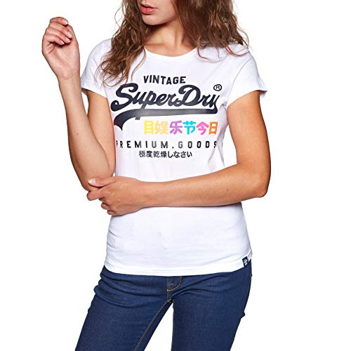 Superdry Damen Pullunder Premium Goods Puff Entry Tee, Weiß (Optic 01c), X-Small (Herstellergröße: 8.0)
