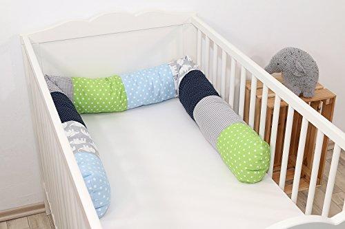 ULLENBOOM ® Bettschlange, Nestchenschlange Elefant Blau Grün (Baby Bettrolle 200x13 cm, Babybett Kantenschutz, Lagerungskissen, Motiv: Sterne)