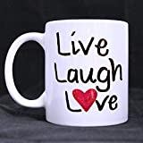 11oz Inspirational Quotes Live Laugh Love Best Choice White Ceramic Coffee Mugs Cup