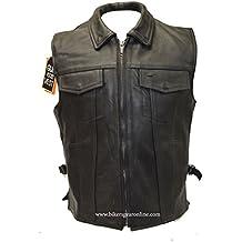 Los hombres de la motocicleta hijo de la anarquía estilo Club piel chaleco 2bolsillos pistola negro nuevas Regular)