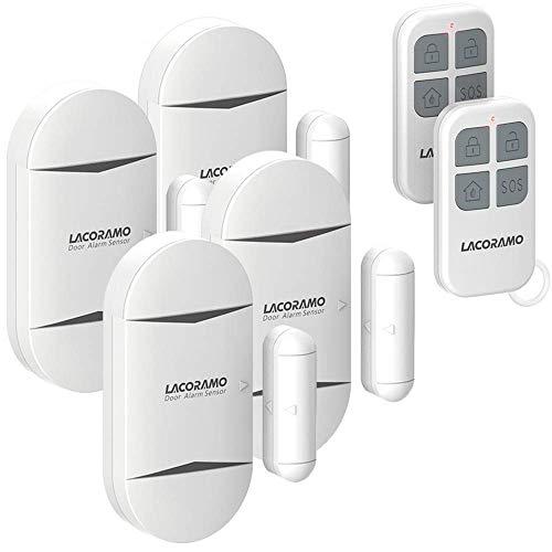 LACORAMO Türalarm und Fensteralarm MIT 2 Fernbedienungen - 130 Db Sirene,Drahtlose Home Security Alarmanlage Magnetsensor - Alarmmodus Oder Benachrichtigungsmodus, Batterien Enthalten (4 Packungen)
