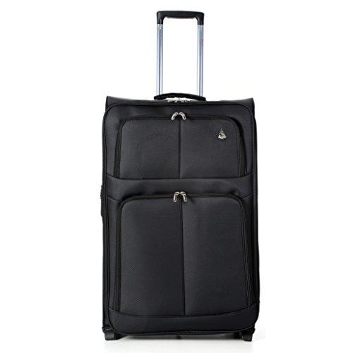 Aerolite Leichtgewicht 2 Rollen Trolley Koffer Kofferset Gepäck-Set Reisekoffer Rollkoffer Gepäck, 3 Teilig , Schwarz - 5