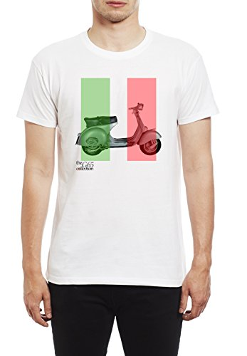 Northern Soul Vespa Scooter Italian Flag. Herren T-Shirt. Weiss/5XL