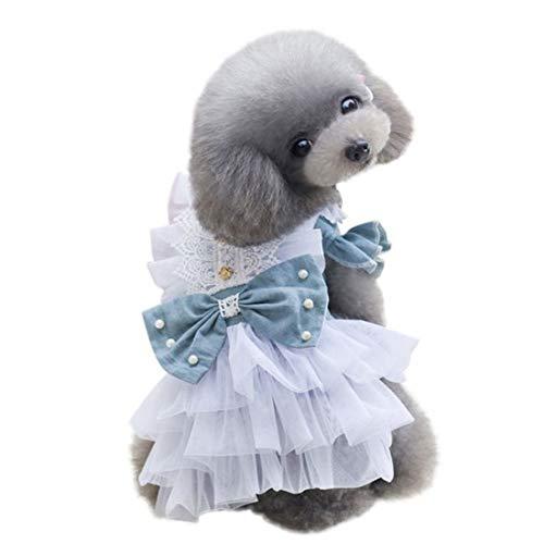 MYTMCW Sommer Hund Kleidung Bowknot Brautkleider für Pet Denim Rock Dog Princess Dress Puppy Kostüm Kleidung für Hund Pet Kostüm,Lightblue,S
