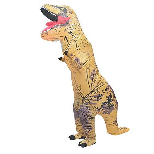 MIMI KING Dinosaurier Aufblasbare Kostüm Halloween Cosplay, Tyrannosaurus T-Rex Cosplay Für Erwachsene,Lightbrown