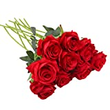 Cherrboll Bouquet de roses artificielles en soie - Pour maison, fête, mariage, décoration de jardin - 10 pièces